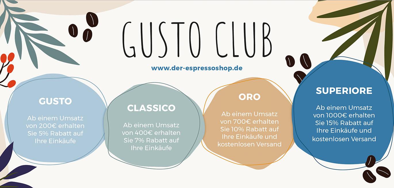 4 Rabattstufen des Gusto Club - Der Espressoshop